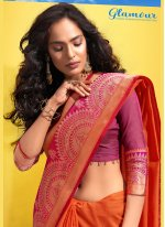 Cotton Orange Traditional Designer Saree