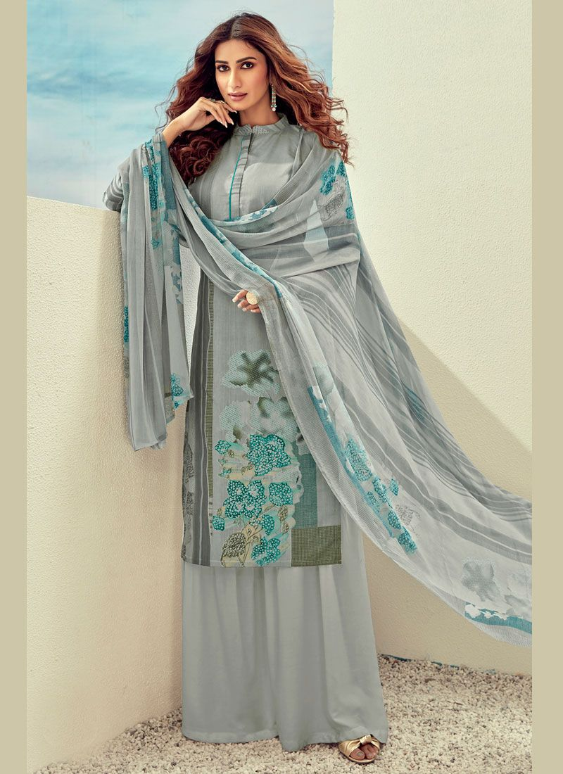 Cotton Palazzo Suit in Grey