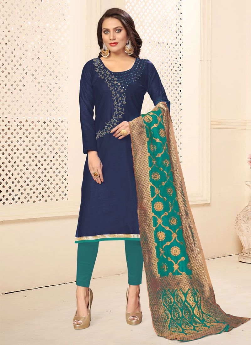 Cotton Pant Style Suit in Blue