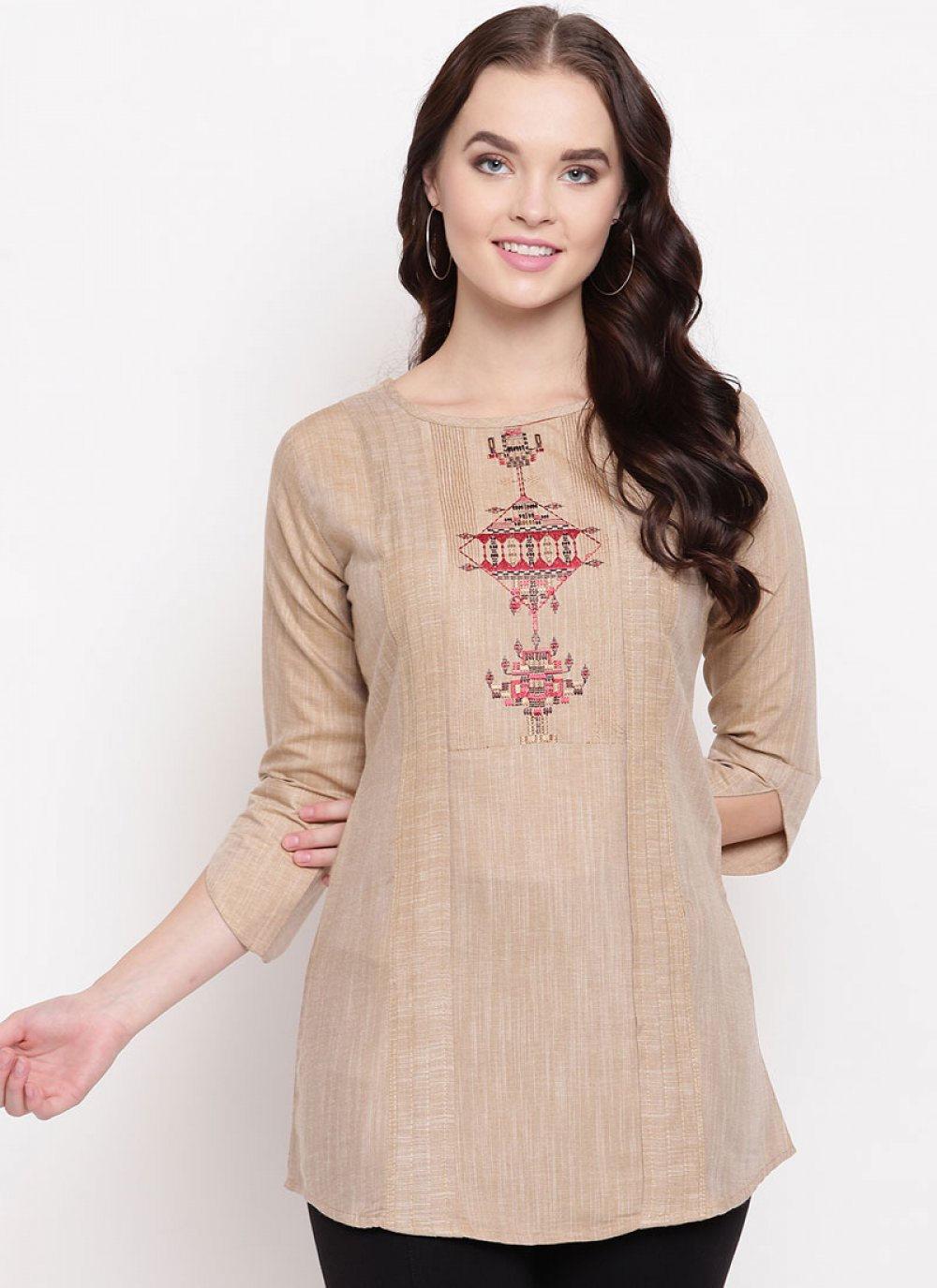 Cotton Party Wear Kurti in Beige