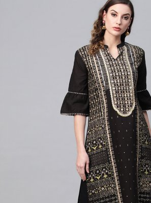Cotton Party Wear Kurti in Black