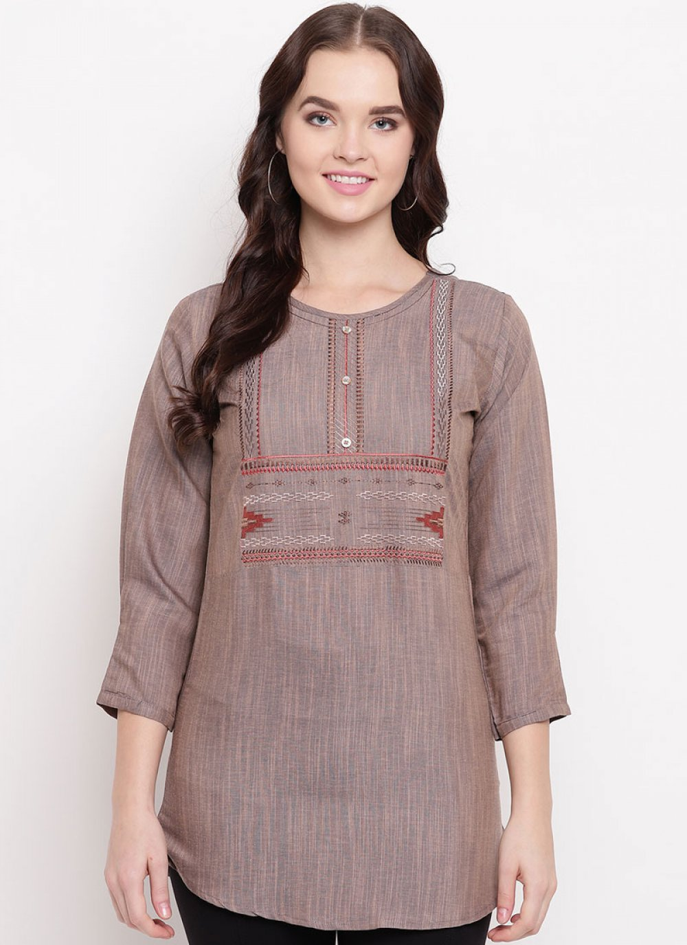 Cotton Party Wear Kurti in Brown