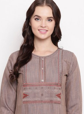 Cotton Party Wear Kurti in Brown