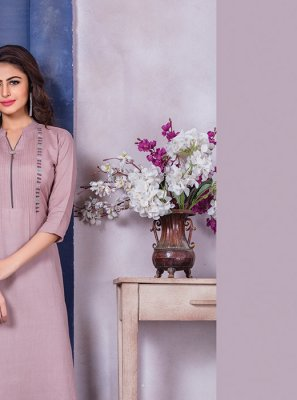 Cotton Party Wear Kurti in Pink
