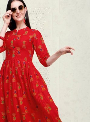 Cotton Party Wear Kurti in Red