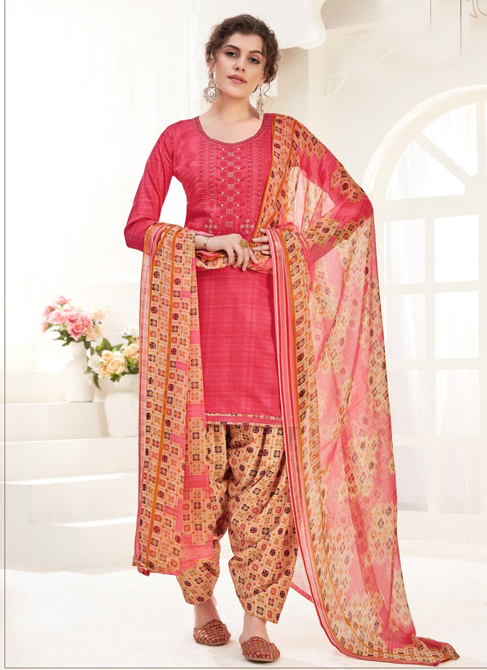 Cotton Patiala Salwar Suit in Pink