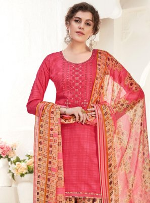 Cotton Patiala Salwar Suit in Pink