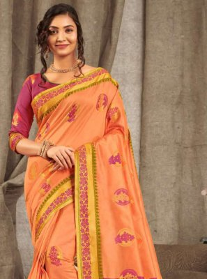 Cotton Peach Classic Saree