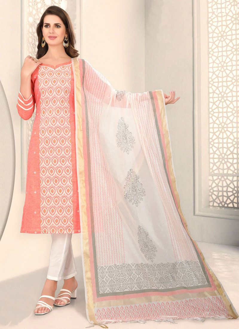 Cotton Peach Fancy Churidar Designer Suit
