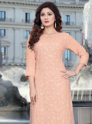 Cotton Peach Resham Casual Kurti