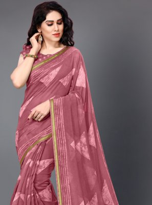 Cotton Pink Casual Saree