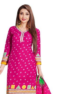 Cotton Pink Churidar Salwar Kameez