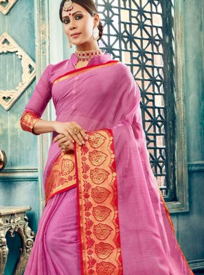 Cotton Pink Designer Traditional Saree