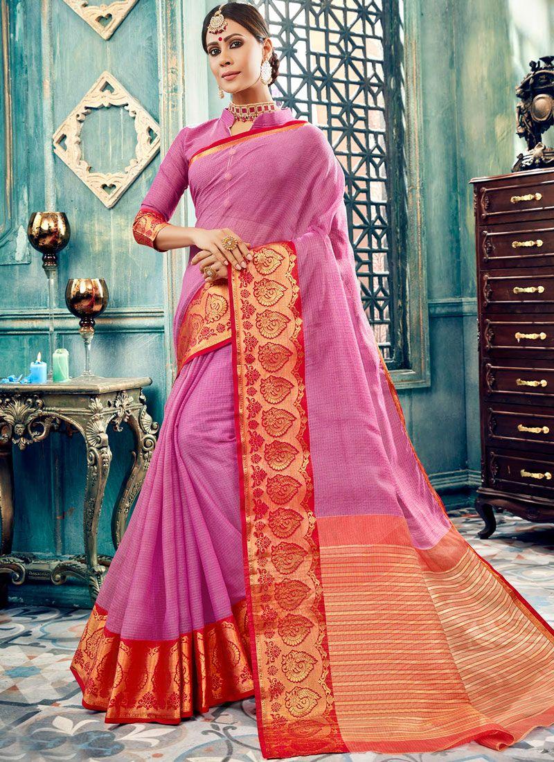 Cotton Pink Designer Traditional Saree