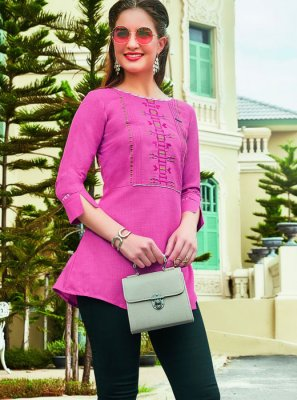 Cotton Pink Embroidered Casual Kurti