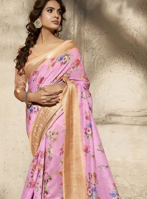 Cotton Pink Print Printed Saree