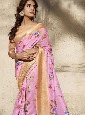 Cotton Pink Print Printed Saree