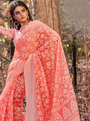 Cotton Pink Printed Printed Saree