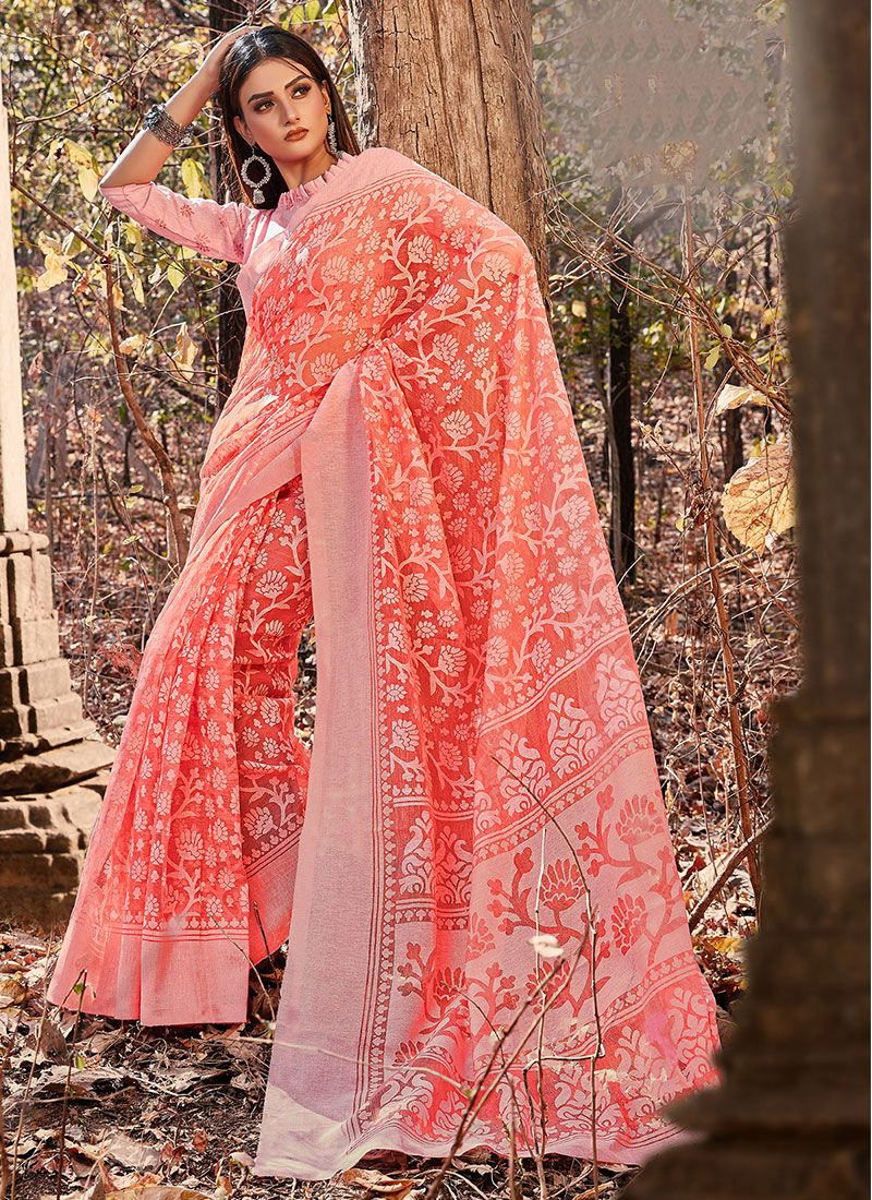 Cotton Pink Printed Printed Saree