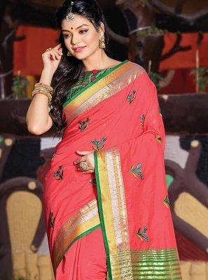 Cotton Pink Resham Classic Designer Saree