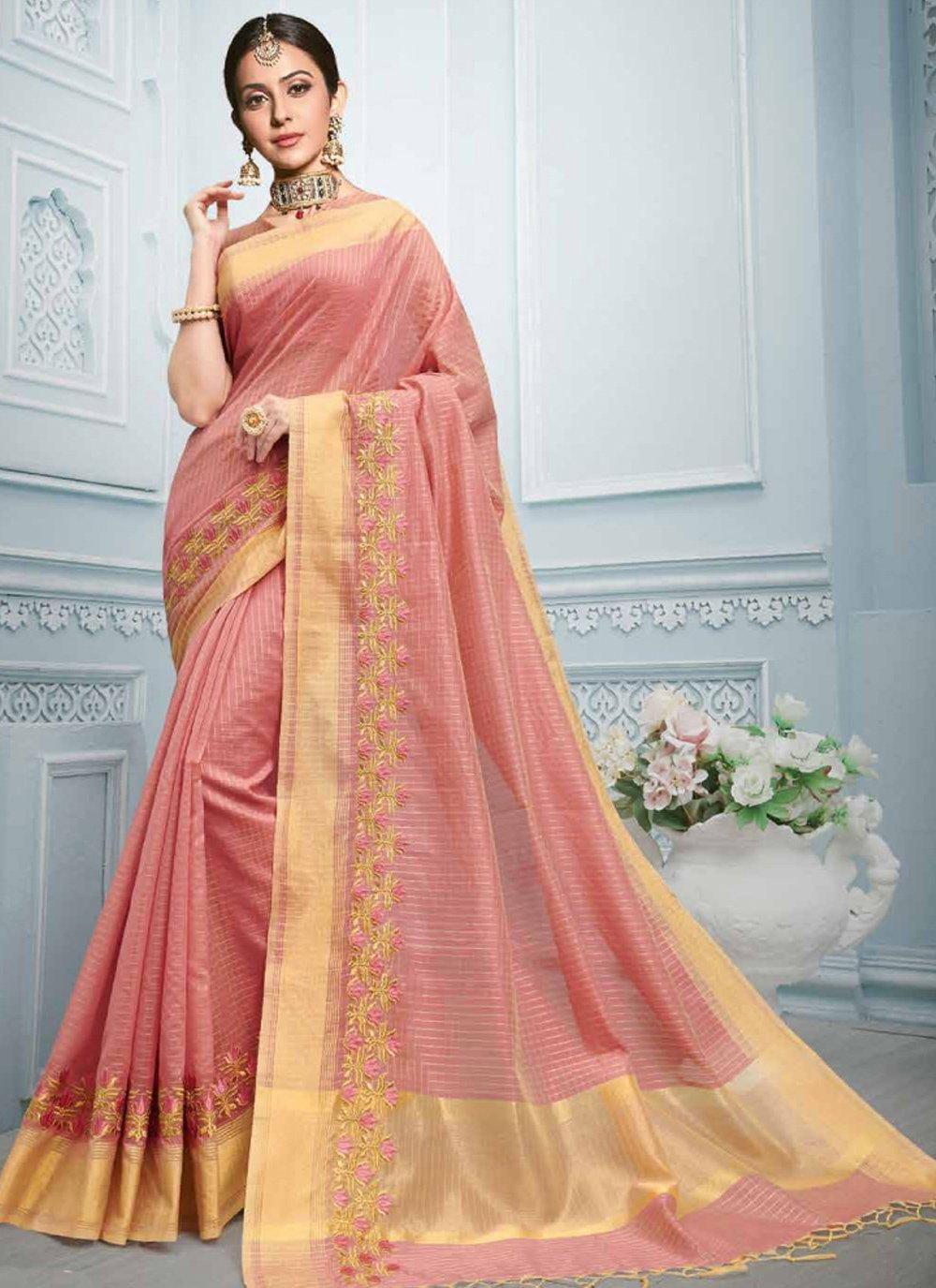 Cotton Pink Resham Classic Saree