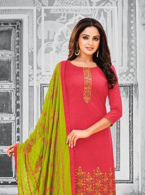 Cotton Pink Resham Salwar Kameez