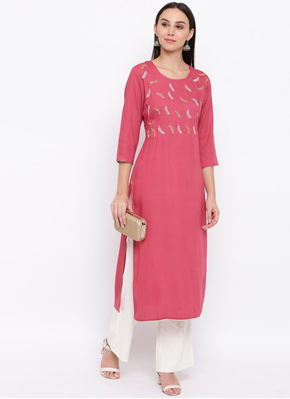 Cotton Pink Thread Casual Kurti