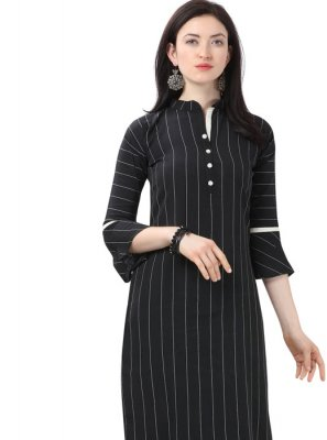 Cotton Plain Black Casual Kurti