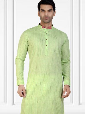 Cotton Plain Green Kurta Pyjama