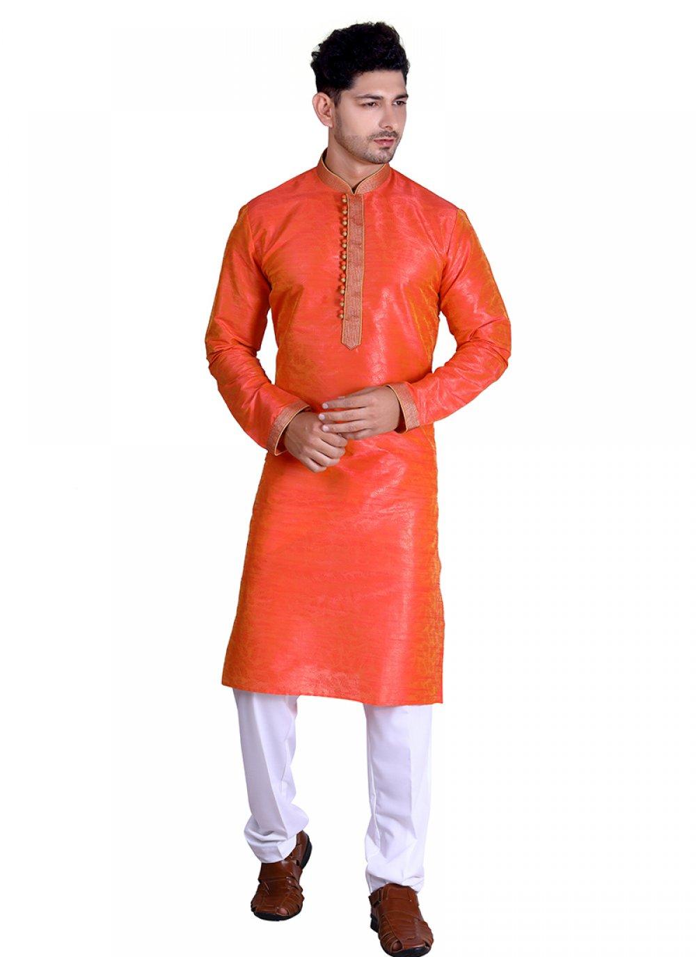 Cotton Plain Orange Kurta