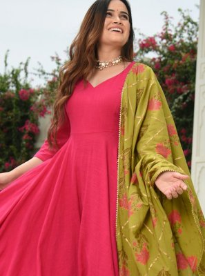 Cotton Plain Pink Salwar Suit