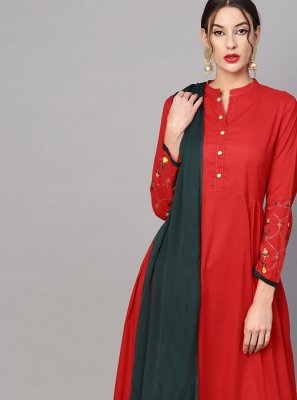 Cotton Plain Red Party Wear Kurti