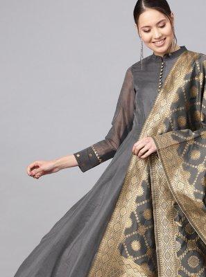 Cotton Plain Trendy Anarkali Salwar Kameez in Grey