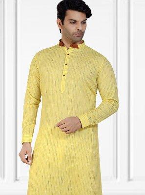 Cotton Plain Yellow Kurta Pyjama