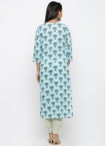 Cotton Print Aqua Blue Salwar Kameez