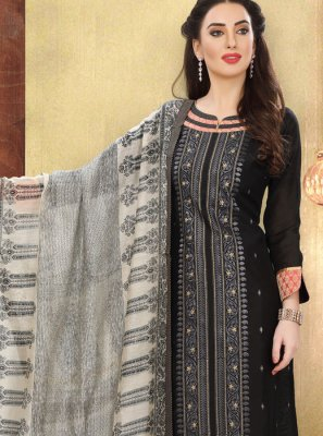 Cotton Print Black Churidar Designer Suit
