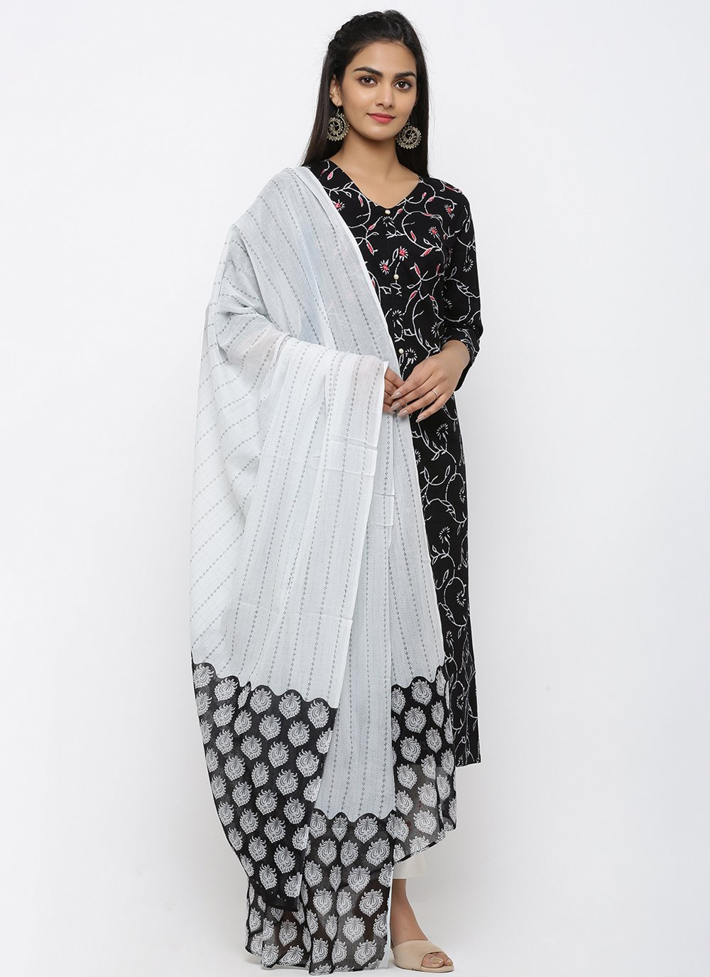 Cotton Print Black Salwar Kameez