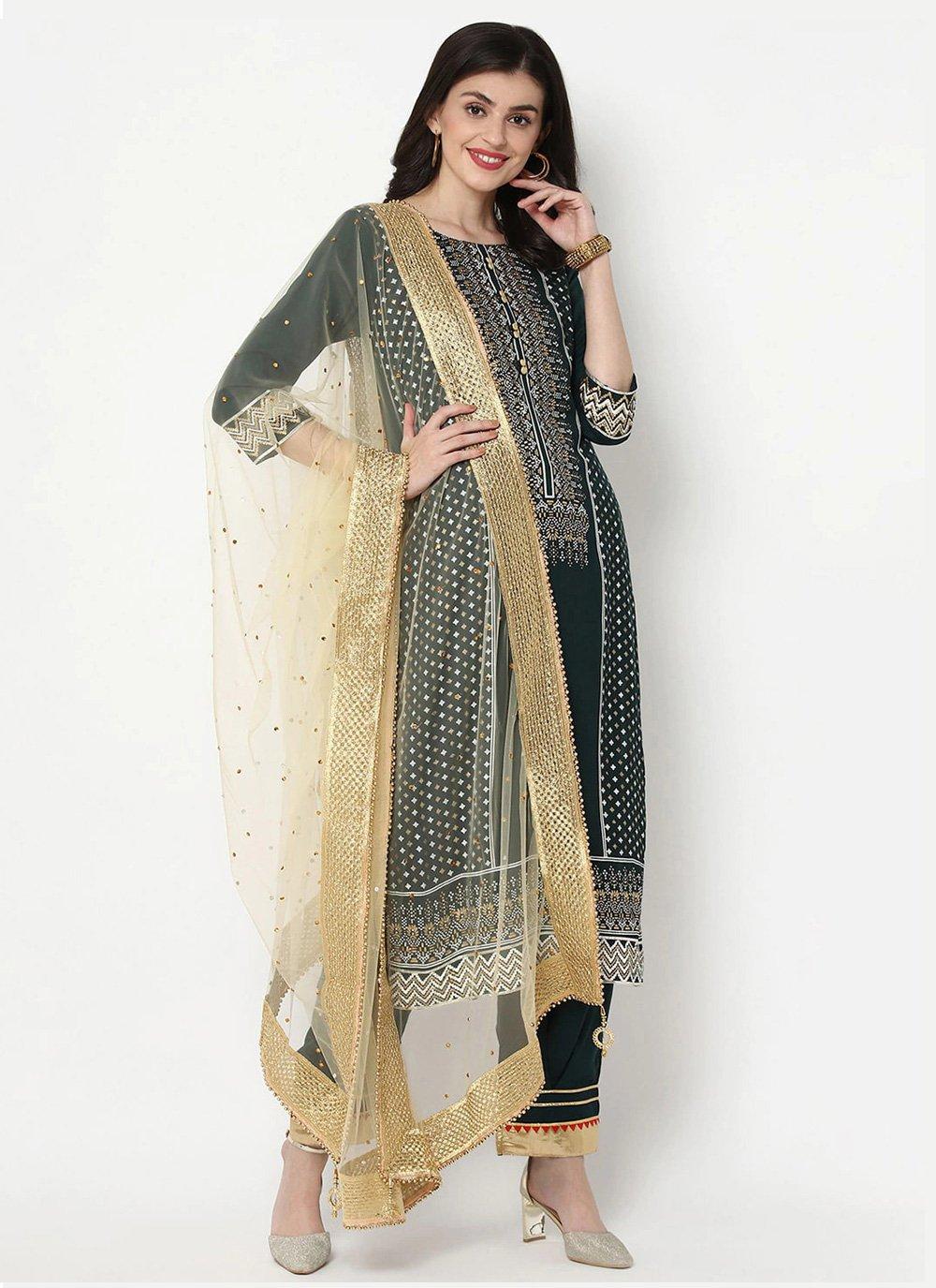 Cotton Print Green Bollywood Salwar Kameez