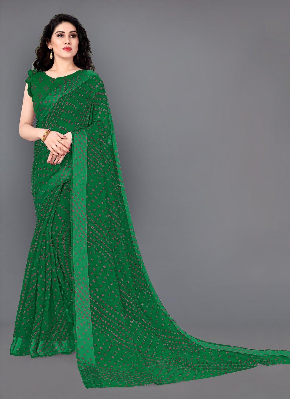 Cotton Print Green Designer Saree