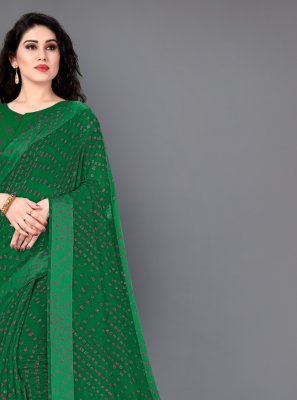 Cotton Print Green Designer Saree