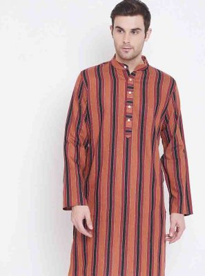 Cotton Print Kurta Pyjama in Multi Colour
