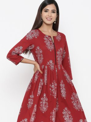 Cotton Print Maroon Party Wear Kurti