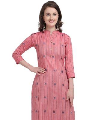 Cotton Print Pink Designer Kurti