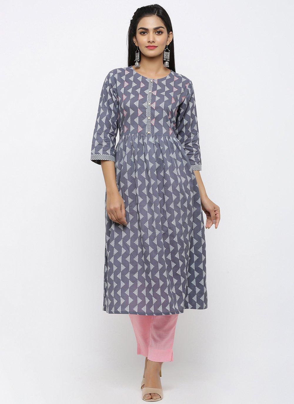Cotton Print Salwar Suit in Grey