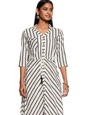 Cotton Printed Black and White Casual Kurti