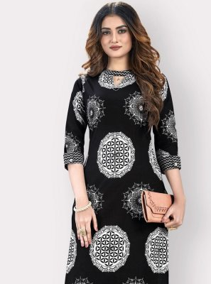 Cotton Printed Black Casual Kurti
