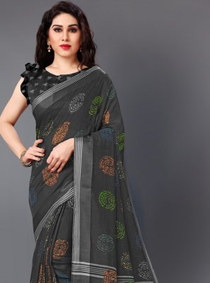 Cotton Printed Black Designer Saree