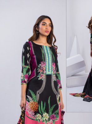 Cotton Printed Black Salwar Suit