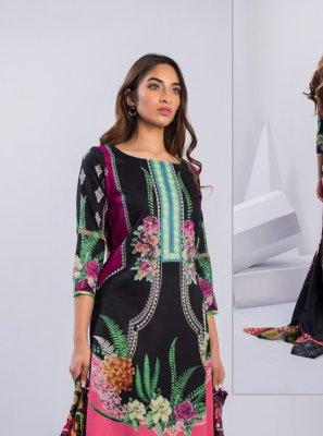 Cotton Printed Black Salwar Suit
