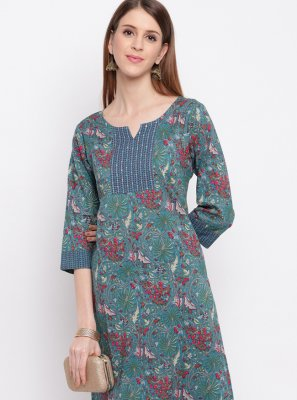 Cotton Printed Blue Casual Kurti